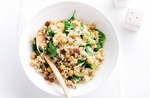 Chickpea, Brown Rice and Spinach Pilaf