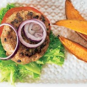 Pork and Mushroom Burgers with Sweet Potato Wedges